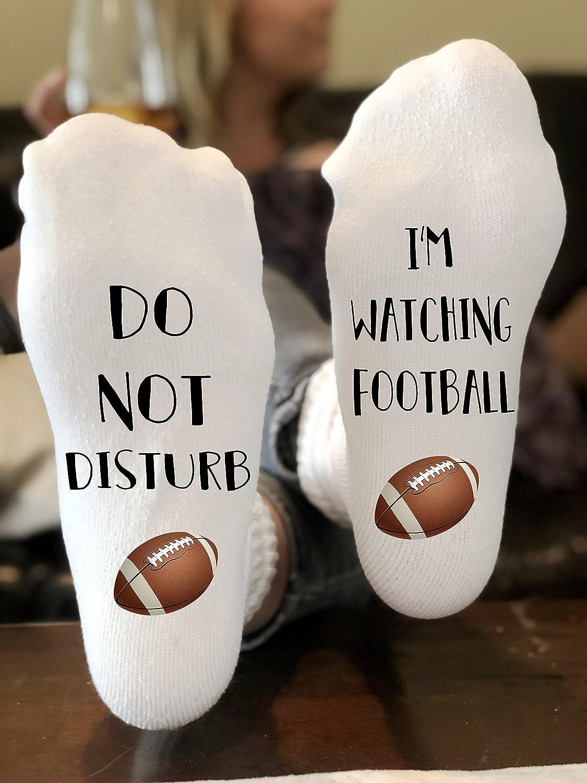 Amazon.com: Do Not Disturb I'm Watching Football Socks Novelty Funky Crew  Socks Men Women Christmas Gifts Cotton Slipper Socks: Handmade