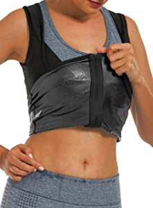 DYUAI Sauna Sweat Vest for Women Heat Trapping Workout Tank Top Sauna Suit Compression Shirts Waist Trainer Fitness Polymer with Zipper