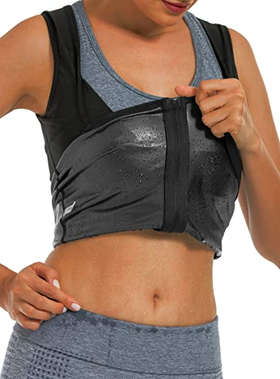 Details about  /Sweat Body Shaper Women/'s Workout Tank Top Slimming Polymer Sauna Vest Exercise