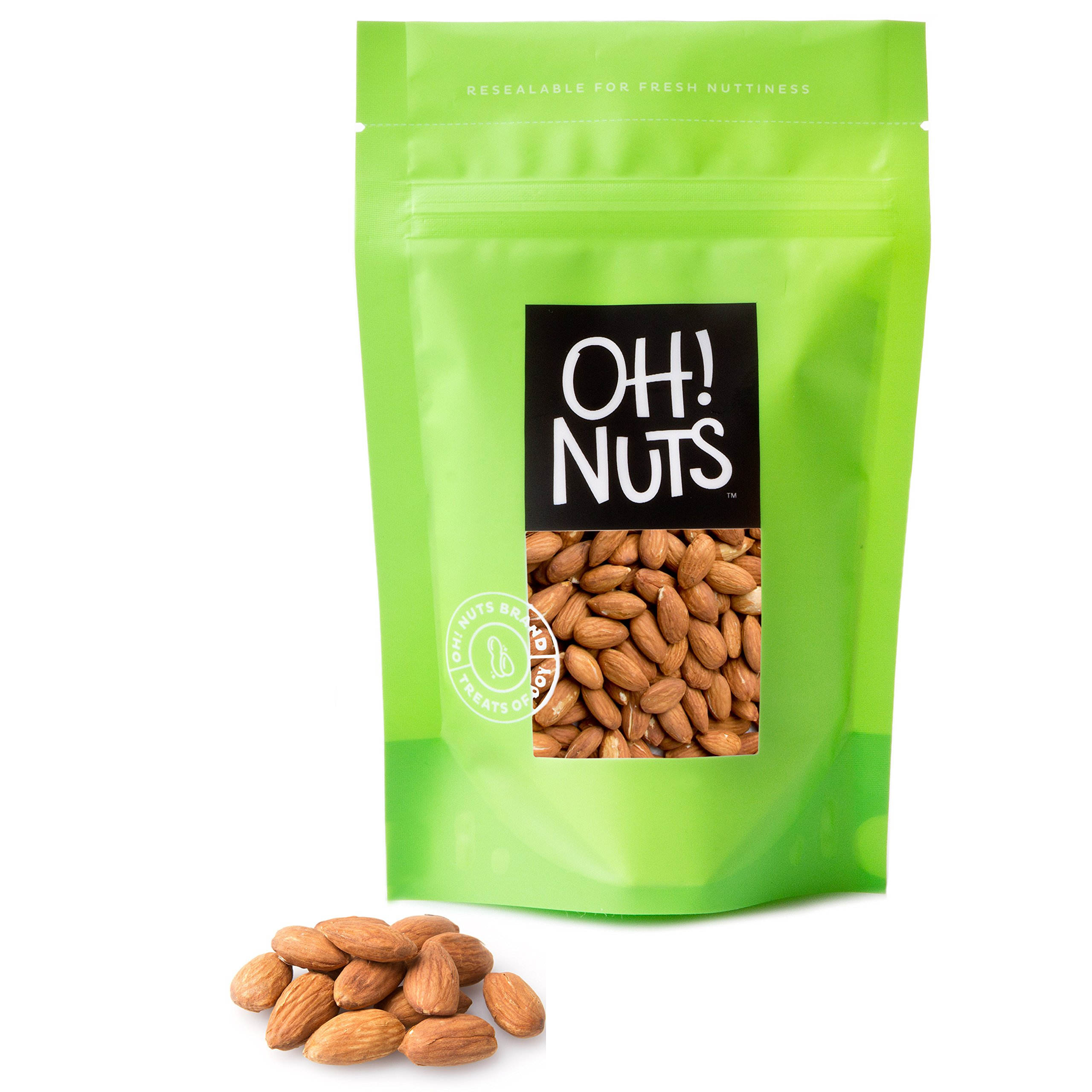 Almonds Large Whole Raw and Unsalted - Great Healthy Premium Almonds Snack - Oh! Nuts (2 LB Bag)