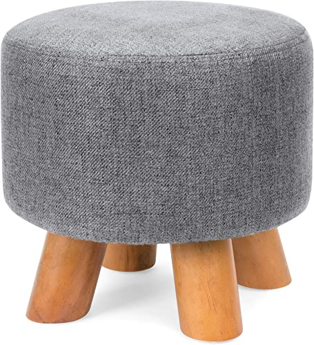 Best Choice Products Upholstered Padded Pouf Ottoman Footrest Stool w Removable Linen Cover, Non-Skid Legs – Gray