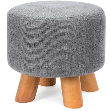 Best Choice Products Foam Padded Pouf Ottoman Footrest Stool with Removable Linen Cover and Non-Skid Wooden Legs, Gray
