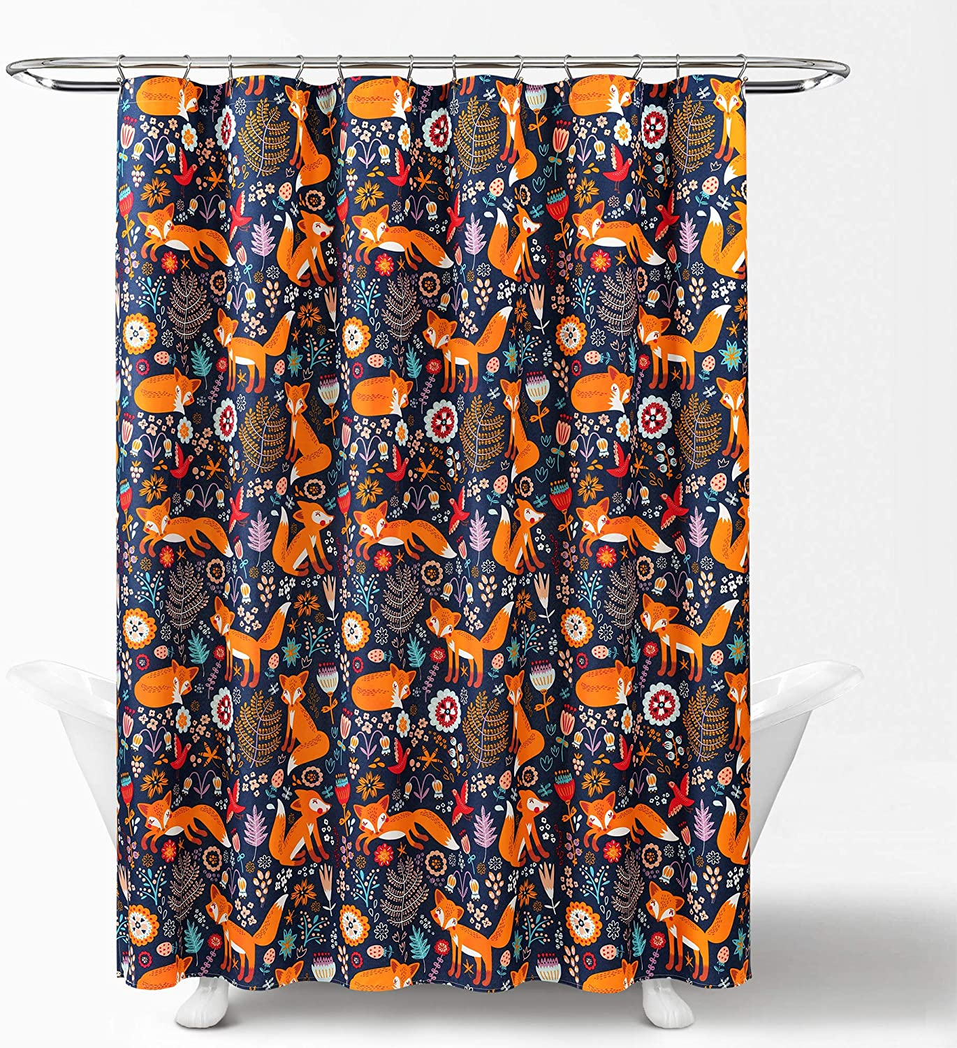 Lush Decor, Navy Pixie Fox Shower Curtain-Fabric Floral Animal Print Design, x 72