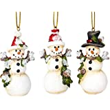 Frosted Winter Snowmen 3.5 Inch Resin Christmas Ornament Figurines Set of 3