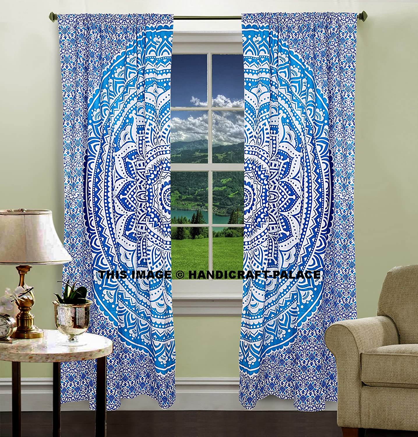 Cobalt blue curtains - Amazon Com Indian Hippie Curtains Bohemian Psychedelic Ombre Mandala Wall Hanging Tapestry Blue Queen Size Large 82x82 Inches Exclusive Sold By