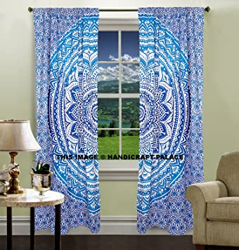 Attractive Indian Hippie Curtains Bohemian Psychedelic Ombre Mandala Wall Hanging  Tapestry Blue Queen