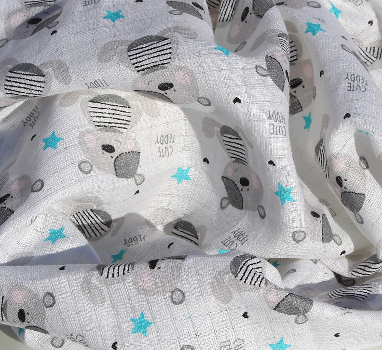 Cute Teddy bluestar Clevere Kids Mullt/ücher Little Stars 6 St/ück Spuckt/ücher Mullwindeln