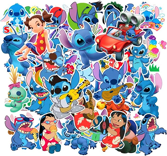 Lilo & Stitch Caroon Stickers(55pcs) Waterproof Vinyl for Waterbottle Laptop Luggage Car Motorcycle Bicycle Fridge DIY Styling Vinyl Home