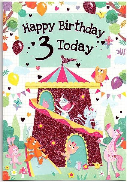 Tarjeta de cumpleaños para niña de 3 años - 1ª clase (Reino ...