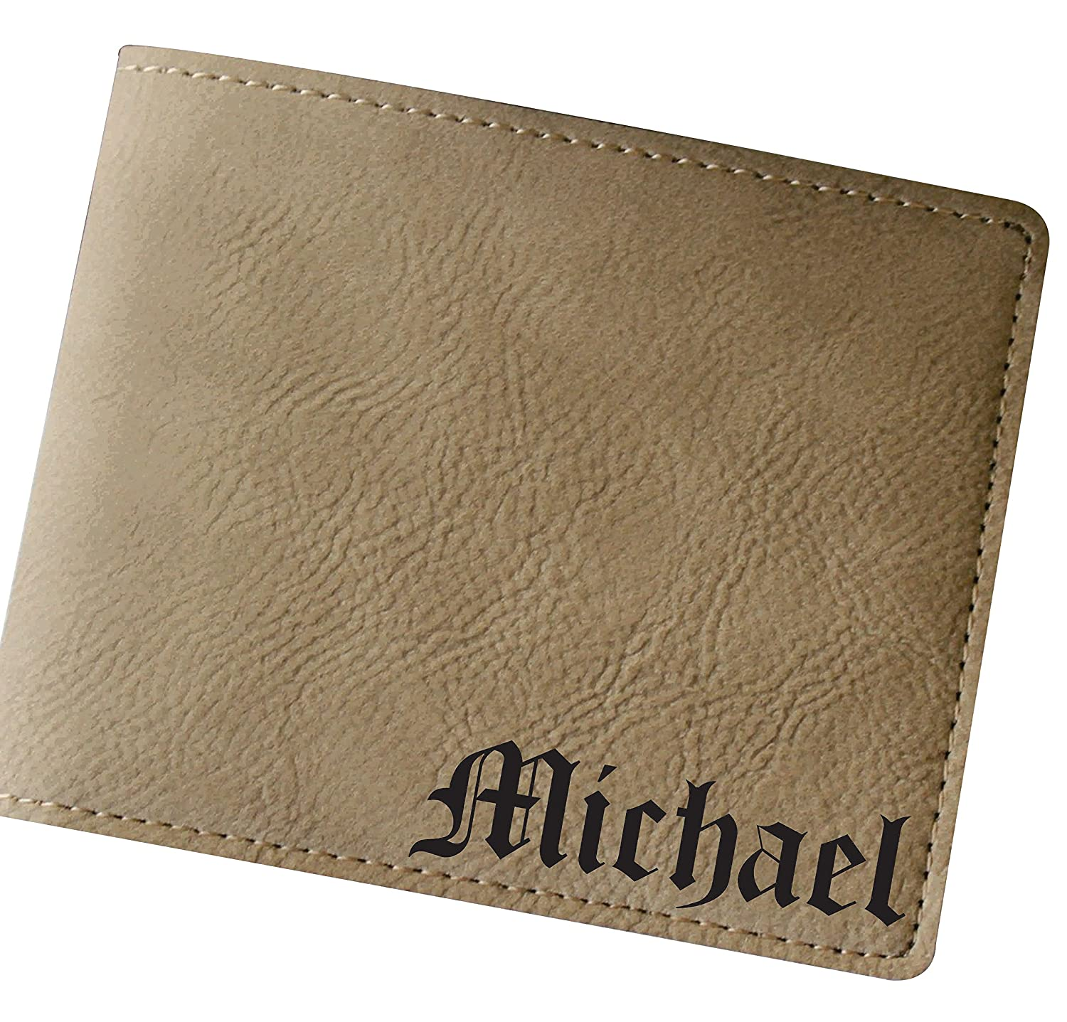Customized Tan Leather Bi-Fold Men's Leather Wallet