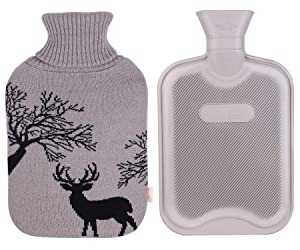 HomeTop Classic Rubber Hot Water Bottle w/Cute Yarn Knit Deer Cover (2 Liter) (Gray)