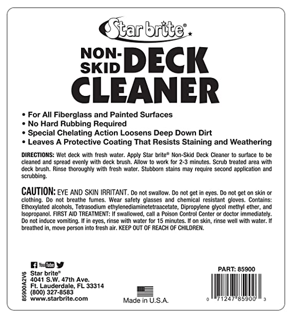 aa7e9a2345b8 Amazon.com: Star brite Non-Skid Deck Cleaner & Protectant - Wash Grime out  of Non-Slip Surfaces & Protect from Future Stains: Sports & Outdoors