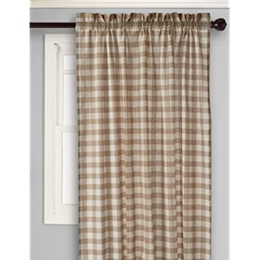Achim Home Furnishings Buffalo Check Window Curtain Single Panel, 42  x 84 , Taupe & Ivory