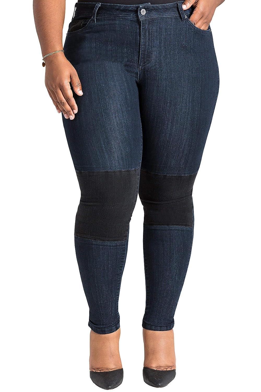 Poetic Justice Plus Size Women s Curvy Fit Black Knee Patch Indigo Moto  Jeans at Amazon Women s Clothing store  c94177b138