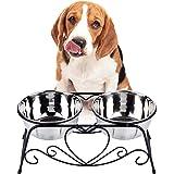 VIVIKO ペット用品 犬のボウル 猫のボウル ご飯入れ 食器 食事 台 高品質ステンレス製 餌やり 水やり 洗いやすい 清潔 (M)