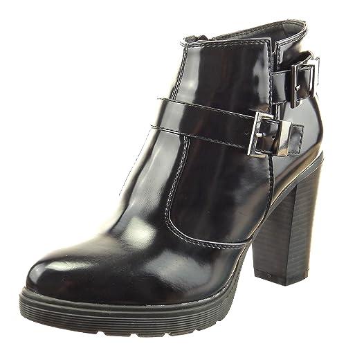 Sopily - Zapatillas de Moda Botines Tobillo mujer brillantes multi-correa Talón Tacón ancho alto 9 CM - Negro CAT-3-FD246 T 41: Amazon.es: Zapatos y ...
