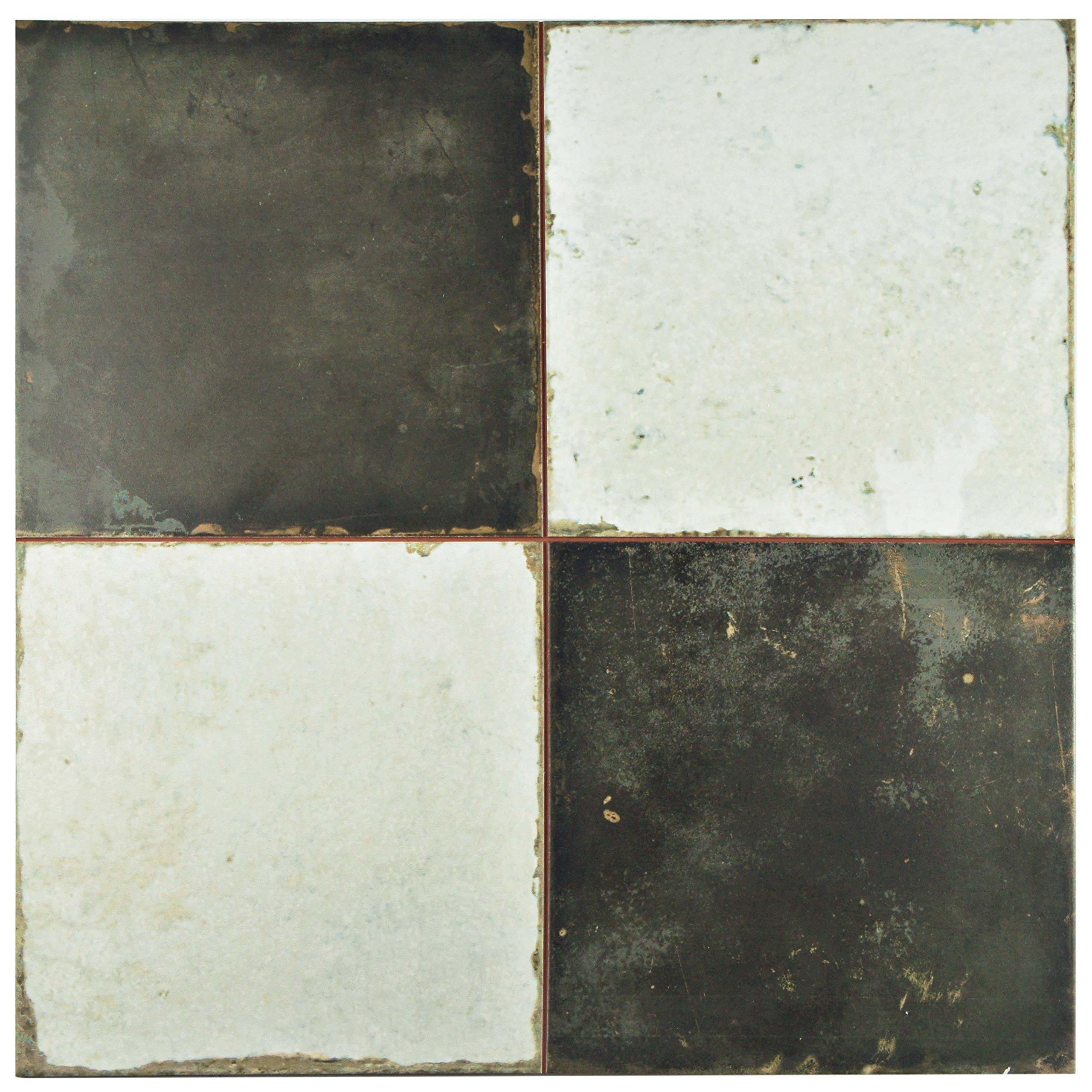 SomerTile FPEKDAME Reyes Ceramic Floor and Wall Tile, 17.75'' x 17.75'', Black/White by SOMERTILE