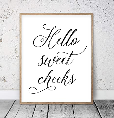 picture regarding Printable Bathroom Quotes named : Hello there Lovable Cheeks Humorous Lavatory Wall Decor