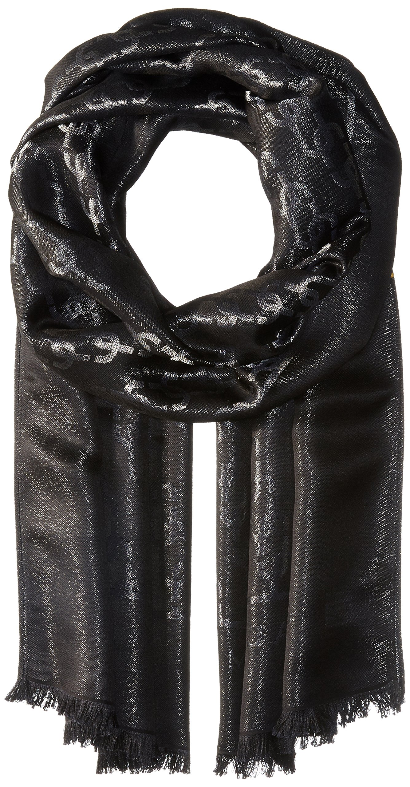 Marc Jacobs Women's Metallic Monogram Scarf, BLACK, One Size