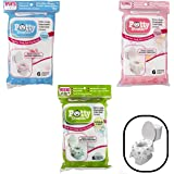 Toilet Seat Covers- Disposable XL Potty Seat Covers, Individually Wrapped by Potty Shields - Extra-Large, No Slip (Original- 6 Pack)