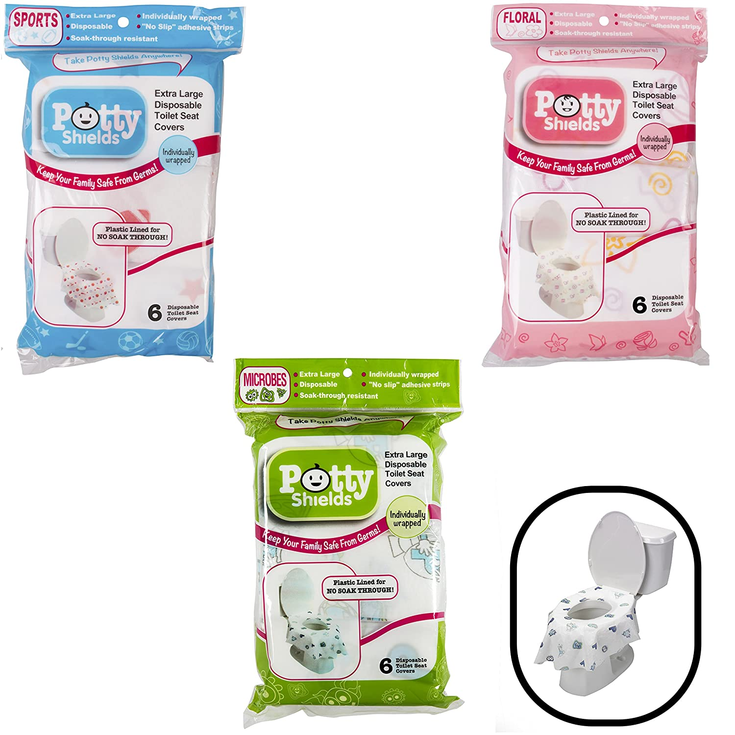 Toilet Seat Covers- Disposable XL Potty Seat Covers, Individually Wrapped by Potty Shields - Extra-Large, No Slip (Original- 6 Pack) PTS_OG6