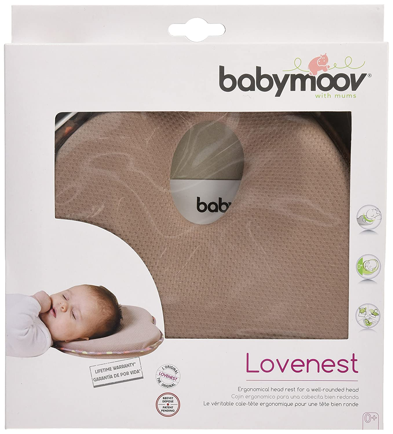 Babymoov Lovenest- Flat-Head Pillow, Taupe