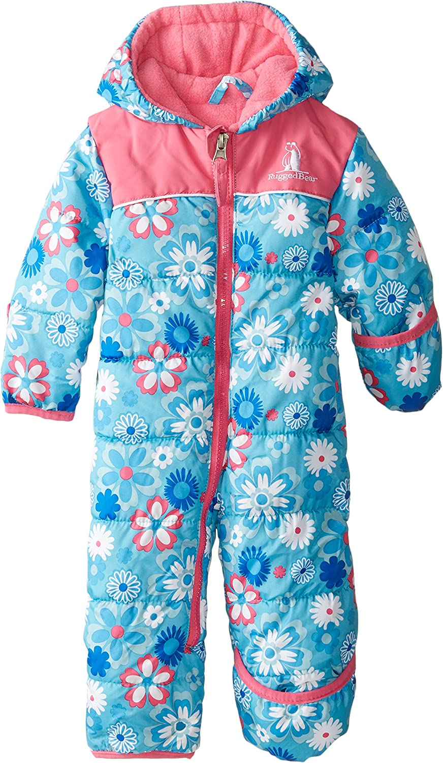 Rugged Bear Baby Girls Flower Snowsuit