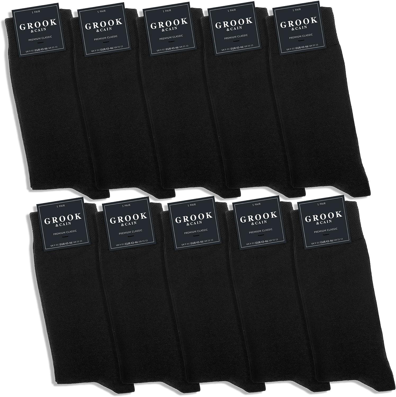 Grook & Cain - Premium Classic - Pack de 10 pares de calcetines de vestir - Unisex - Certificación Oekotex - Algodón - Negro - Tallas 35 - 50