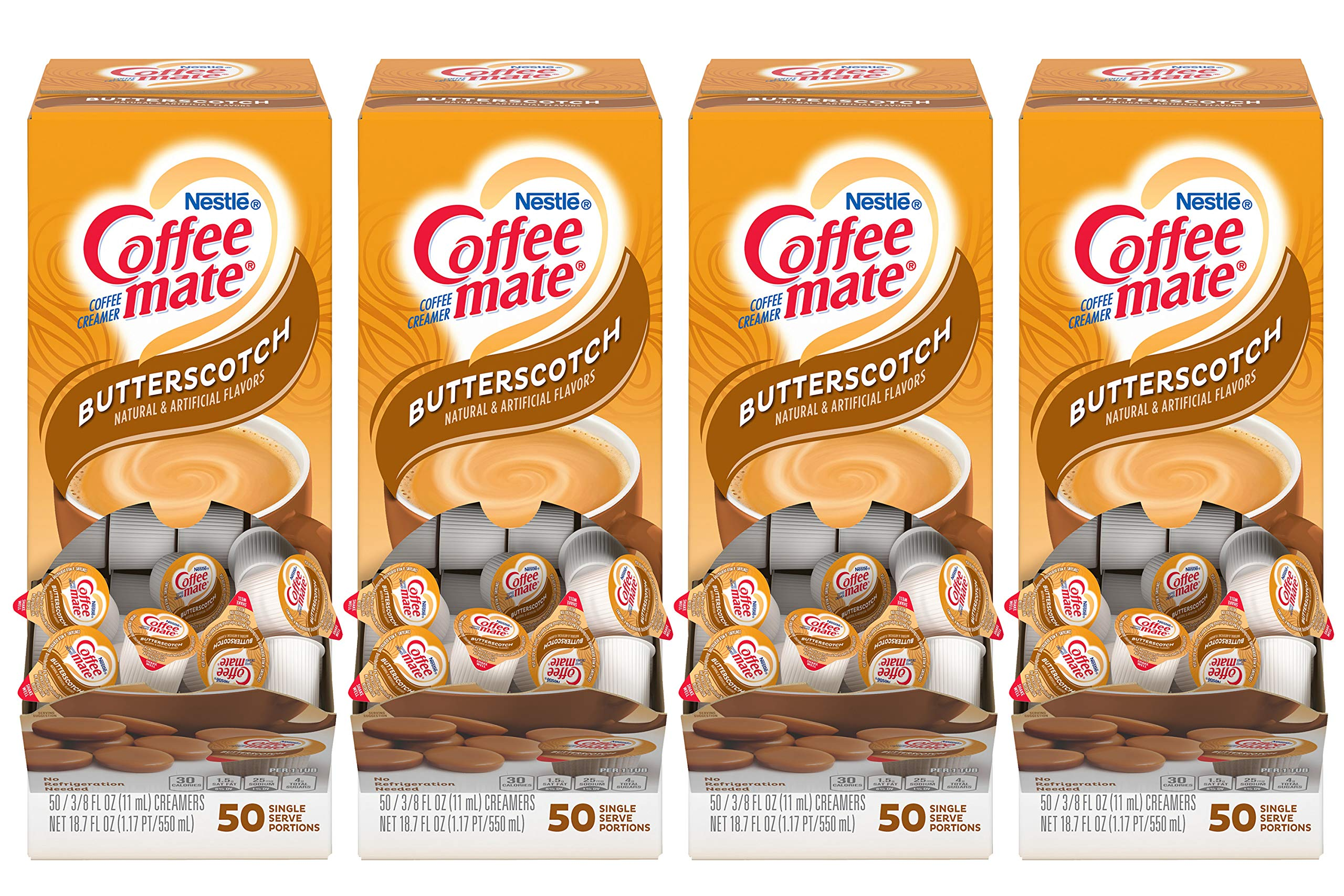 Nestle Coffee-mate Coffee Creamer, Butterscotch, Liquid Creamer Singles,50 Count (Pack of 4) by Nestle Coffee Mate (Image #1)