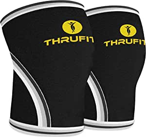 Knee Sleeve (1 Pair) 7mm Neoprene – Support & Compression for Squats, Weightlifting & Powerlifting – Crossfit Sleeves Reduces Injury Risk and Eases Knee Pain – Both Men & Women