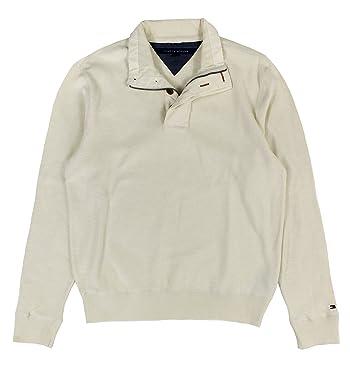 Men's Quarter Zip Sweater, Seedpearl, Medium