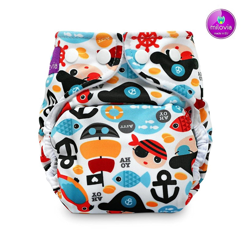 milovia cubrepañales (prefold)–Tiny Pirates–Pañales través Pantalones, plástico pañales través Pantalones, la mejor calidad y Super Suave Exterior plástico