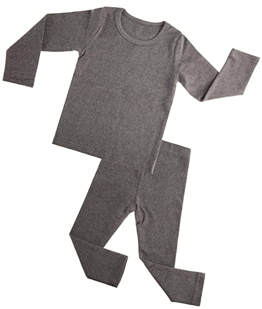 7521aa4dbc Kids Boy Girls Cotton Thermal Long Underwear Set Toddler Basic Layer Sleepwear  Pajamas Set (Grey
