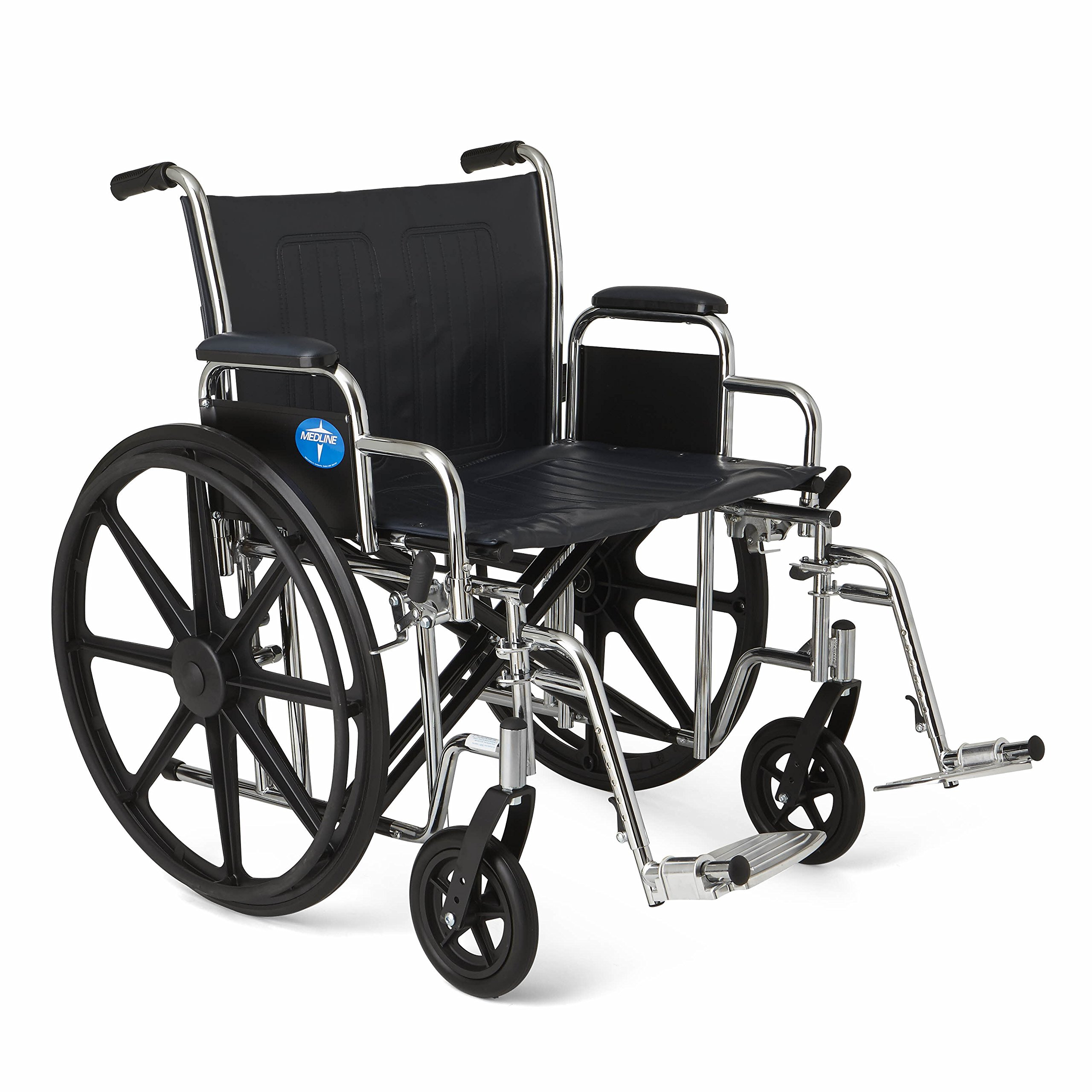 Medline Excel Extra-Wide Wheelchair, 24'' Wide Seat, Desk-Length Removable Arms, Swing Away Footrests, Chrome Frame by Medline