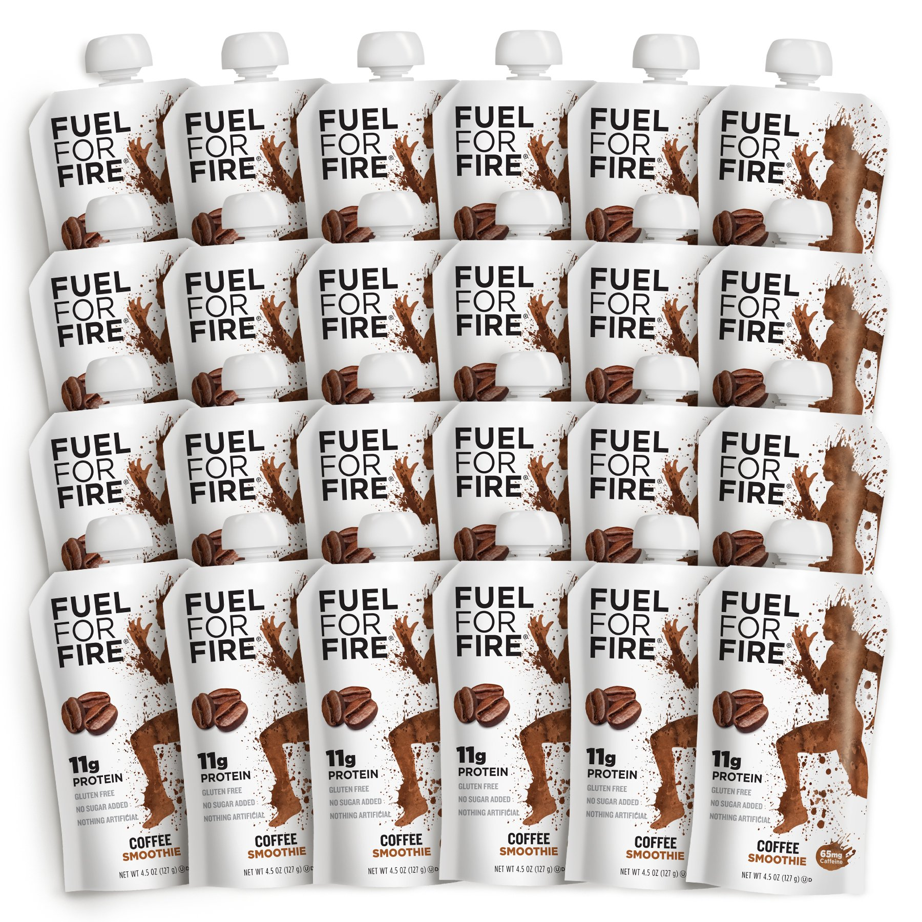 Fuel For Fire - Coffee (24 Pack) Fruit & Protein Smoothie Squeeze Pouch | Perfect for Workouts, Kids, Snacking - Gluten-Free, Soy-Free, Kosher (4.5 ounce pouches) by FUEL FOR FIRE