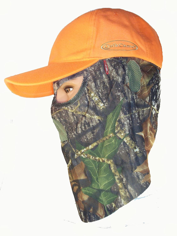 Quick Camo ブレイズ オレンジ 3D Leafy メッシュバックキャップ ハンティングフェイスマスク コンビネーション   B006OCMVLY