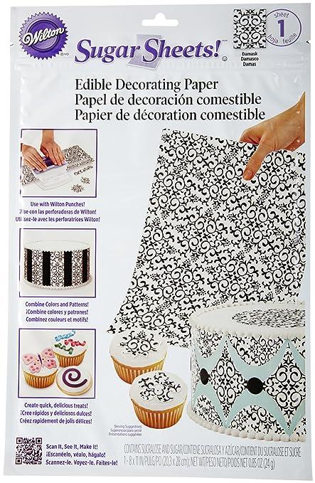 Amazon.com | Wilton Sugar Sheet, Black and White Damask: Dessert ...