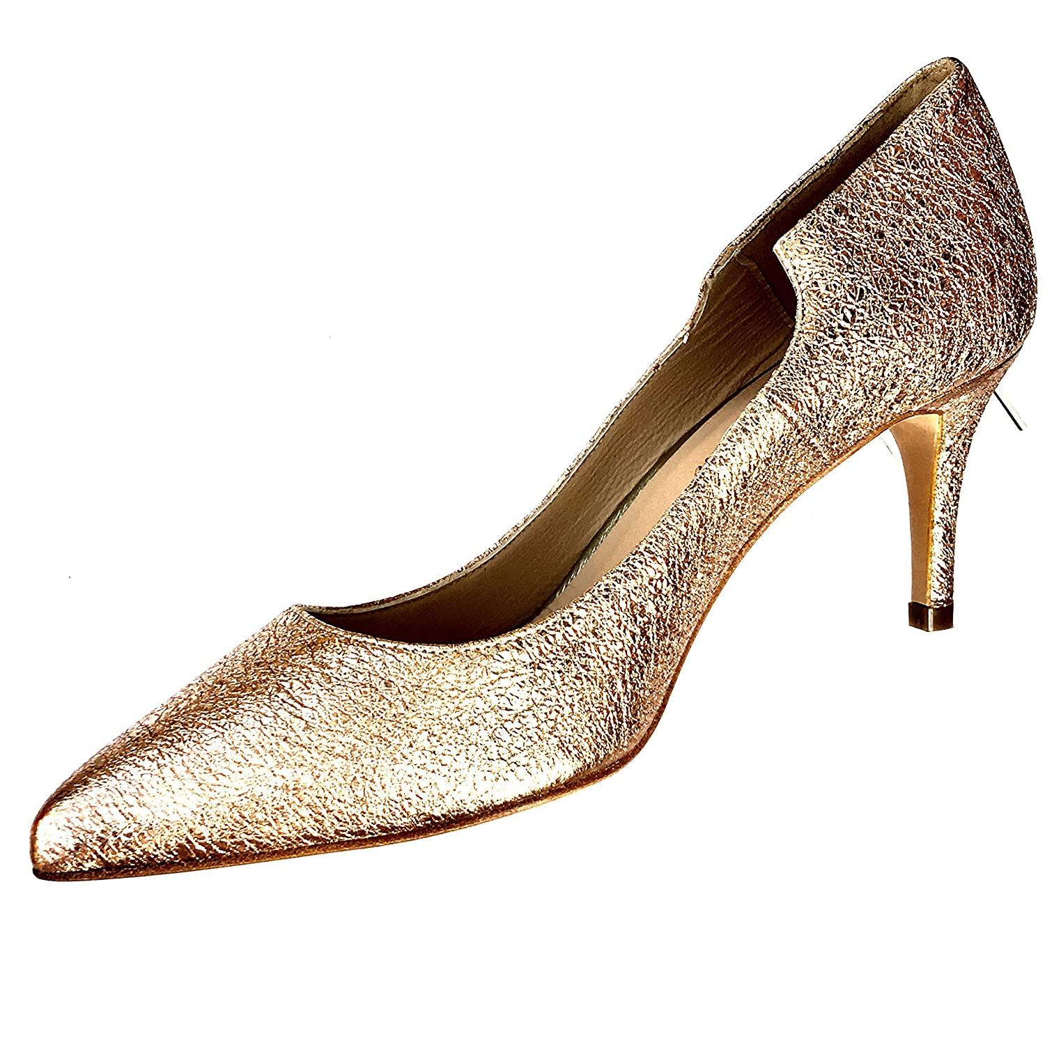 JAY KAPLAN 400 Dollar Gorgeous Womens All Leather Made in Spain Low Heel Pump, Sofia B07BV6G861 38= 7 to 7.5|Gold Flake Metallic