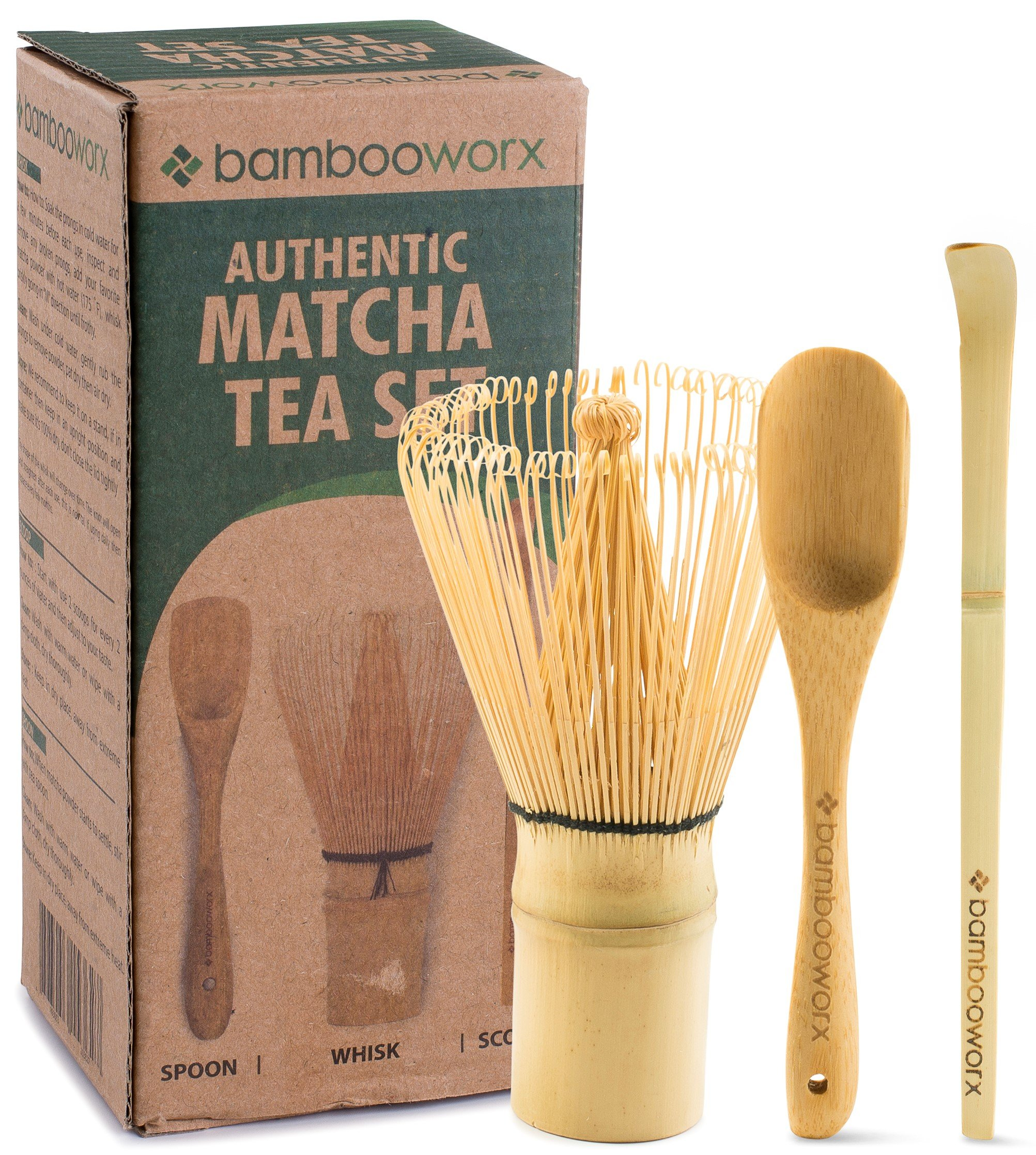 BambooWorx Japanese Tea Set, Matcha Whisk (Chasen), Traditional Scoop (Chashaku), Tea Spoon, The Perfect Set to Prepare a Traditional Cup of Matcha.