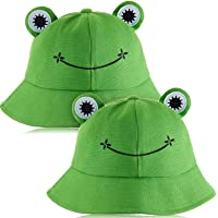 2 Pieces Frog Bucket Hat Cute Fisherman Cotton Hat Frog Bucket Sun Protection Cap Wide Brim Fisherman Hat for Adults