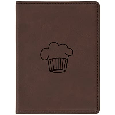 "Chefs Hat Brown Leather Passport Holder - Laser Etched Design - 4 X 5.5"" Engraved Passport Holder For Women And Men"