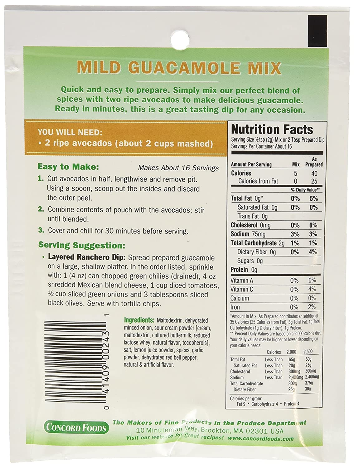 Whole Foods Guacamole Nutrition Information