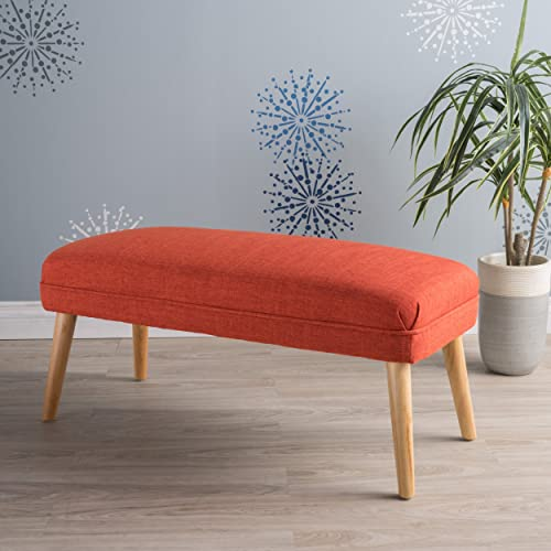 GDF Studio Dumont Mid Century Modern Fabric Ottoman Red-Orange