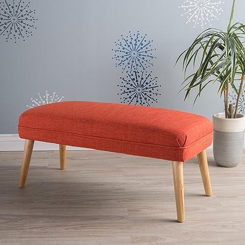 Dumont Mid Century Modern Fabric Ottoman Red-Orange