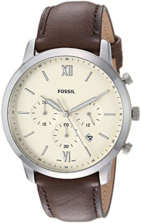 b0b23c39f Fossil Men's Neutra Chrono Stainless Steel Quartz Watch with Leather  Calfskin Strap, Brown, 22