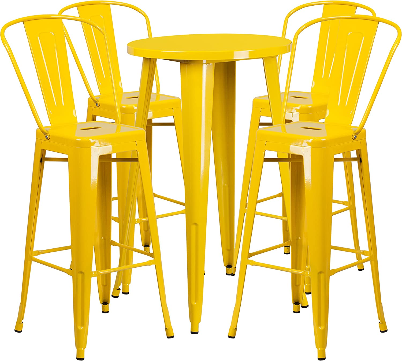 Flash Furniture 24 Round Orange Metal Indoor-Outdoor Bar Table Set with 4 Cafe Stools