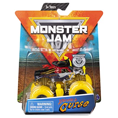 Monster Jam 1:64 Scale Pirate's Curse with Yellow Wheels: Toys & Games
