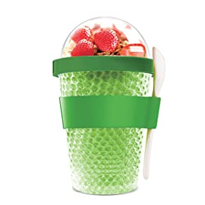 Asobu Chill Yo2go for a 13 ounce Cold Yogurt and Cereal Breakfast On the Go with a Melamine Spoon and Silicone Holder