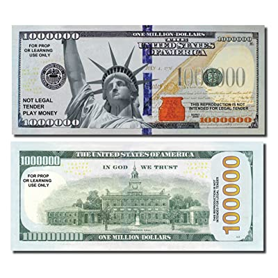 JUMBO Million Dollars, 25 Bills of Best Real Looking Play Money, Jumbo Size Real Rich Full Color, The #1 Play Money for Education, Props, Gifts & Fun: Toys & Games [5Bkhe0407047]