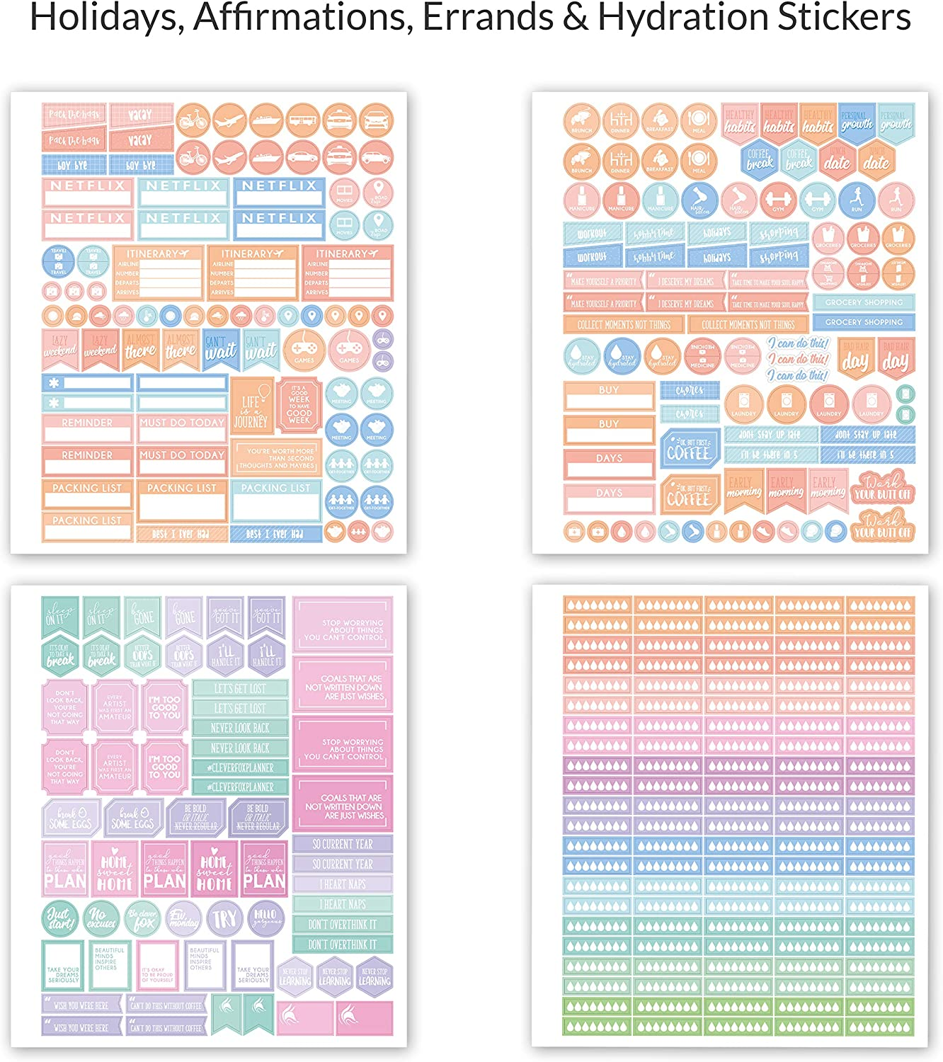 Weekly /& Daily Planner Stickers 14 Sheets Set of 1500+ Unique Stickers Value Pack Monthly Clever Fox Planner Stickers Set